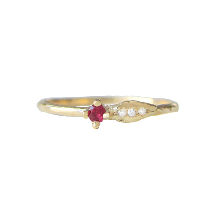 Sprout Ruby Ring in 14K Yellow Gold