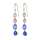 Organic Set Rose Cut Sapphire Sunset Earrings