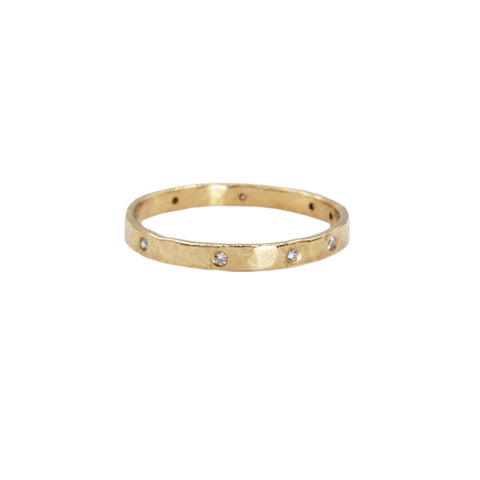 Parchment Scatter Ring with Diamonds in 14K Yellow Gold (2mm)