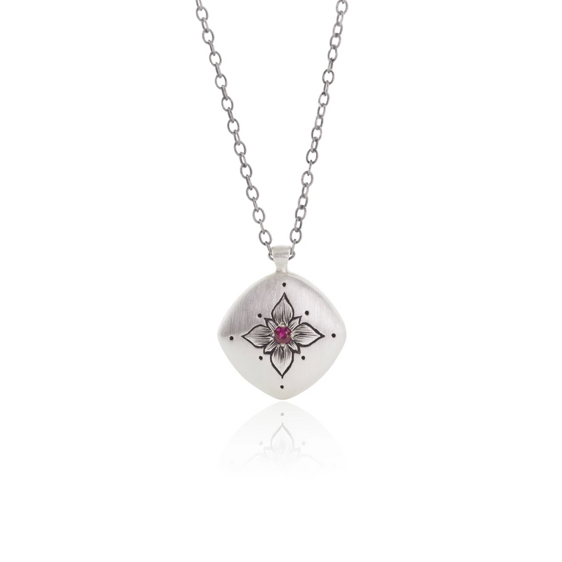 Lotus Cushion Necklace with Ruby in Sterling Silver