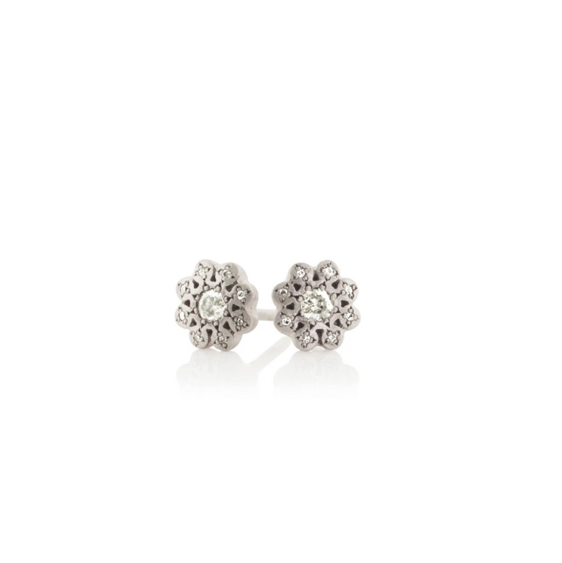 Moonflower Charm Studs with Diamond