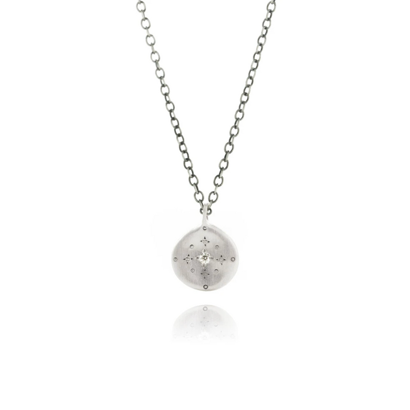 New Moon Charm Necklace with Diamond in Sterling Silver