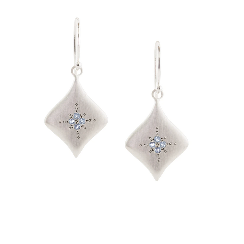 Silver Nights Earrings with Aquamarine in Sterling Silver