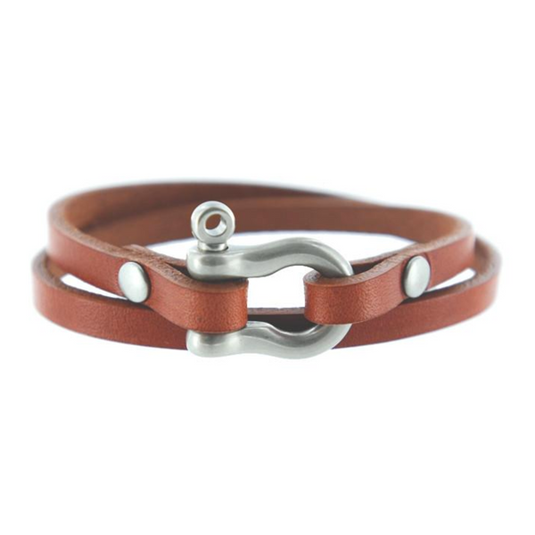 Double Wrap Shackle Bracelet (Nickel on Chestnut Leather)