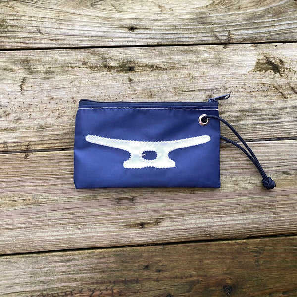 Small Cleat Wristlet (Navy & White)