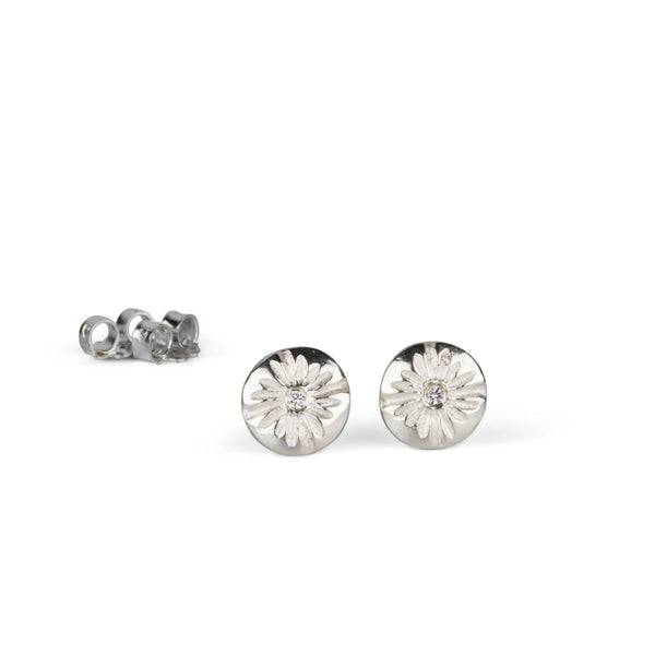Small Corona Stud Earrings in Sterling Silver