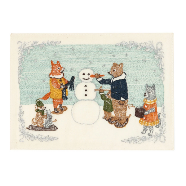 Embroidered Snowman Card