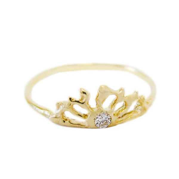 Sunrise Diamond Ring in 14K Yellow Gold