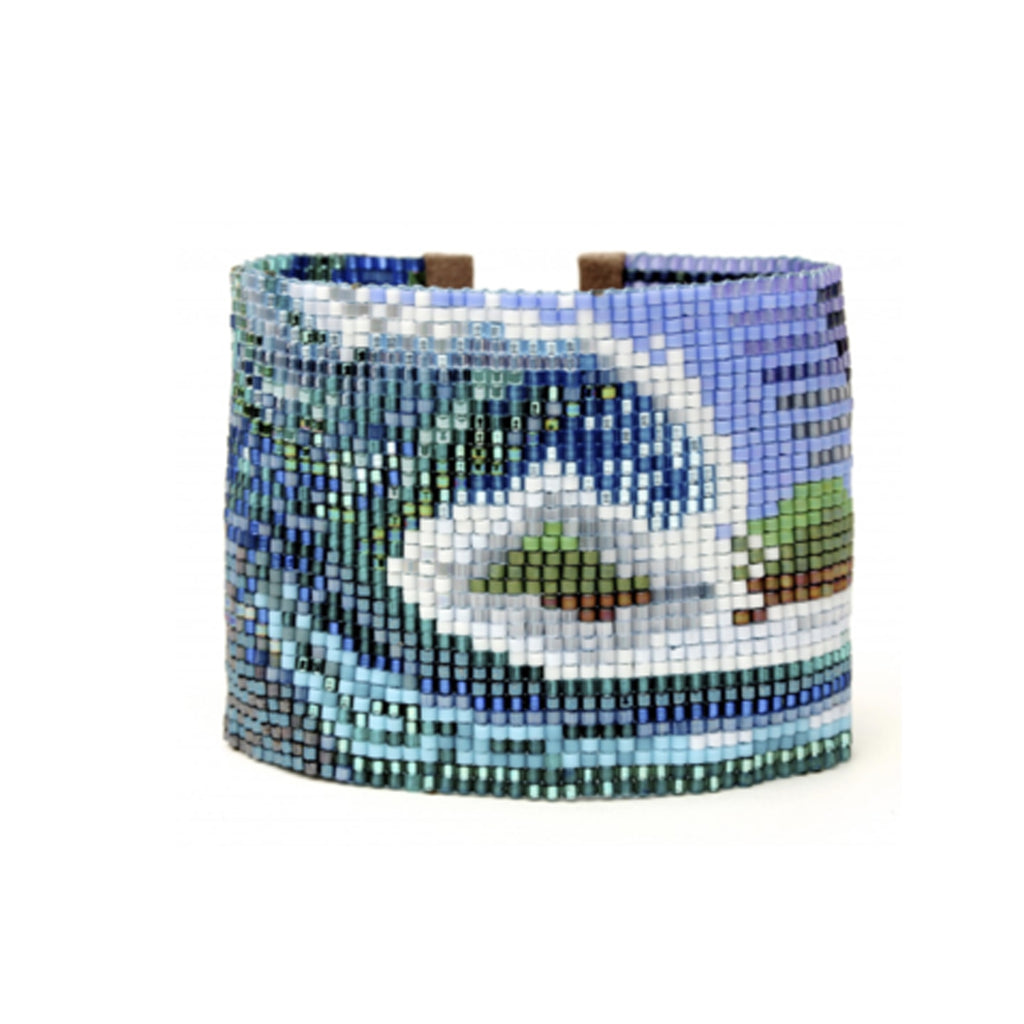 Handwoven Beaded Wide Cuff (Swell)