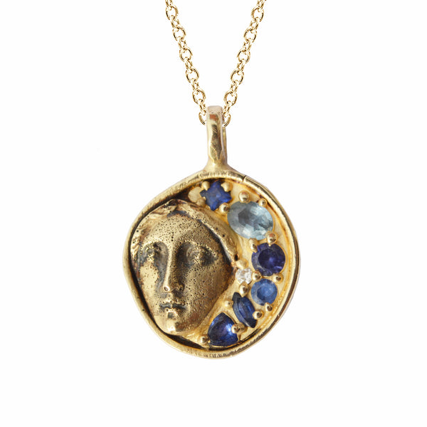 Sybil's Feast Necklace with Blue Sapphires in 10K Gold