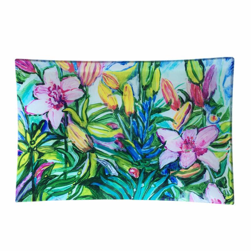 "Medium Découpage Tray - ""Lilies"" by Tisa"