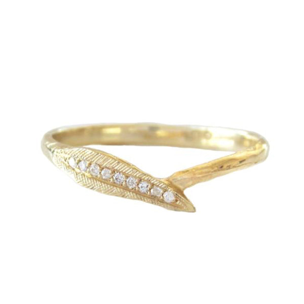 Ti Leaf Diamond Ring in 14K Yellow Gold