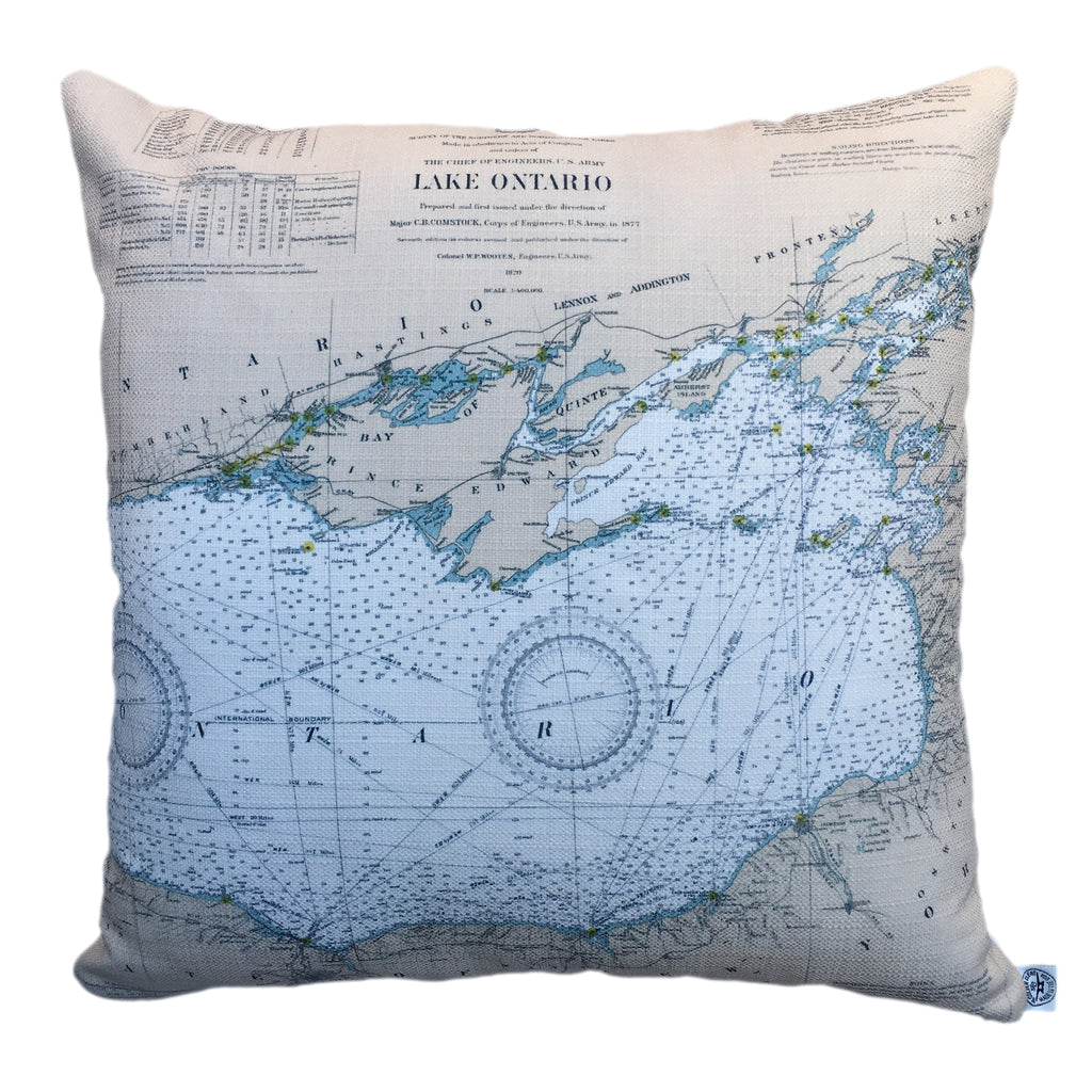Thousand Islands Indoor/Outdoor Vintage Nautical Chart Pillow #0 (Square) (Lake Ontario to the St. Lawrence River)