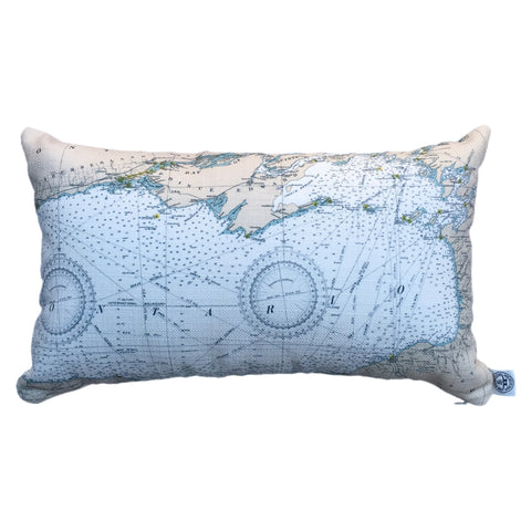 Thousand Islands Indoor/Outdoor Vintage Nautical Chart Pillow #0 (Lumbar) (Lake Ontario to the St. Lawrence River)