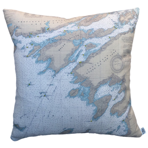 Thousand Islands Indoor/Outdoor Vintage Nautical Chart Pillow #1A (Square) (from Lake Ontario to Grindstone Island)