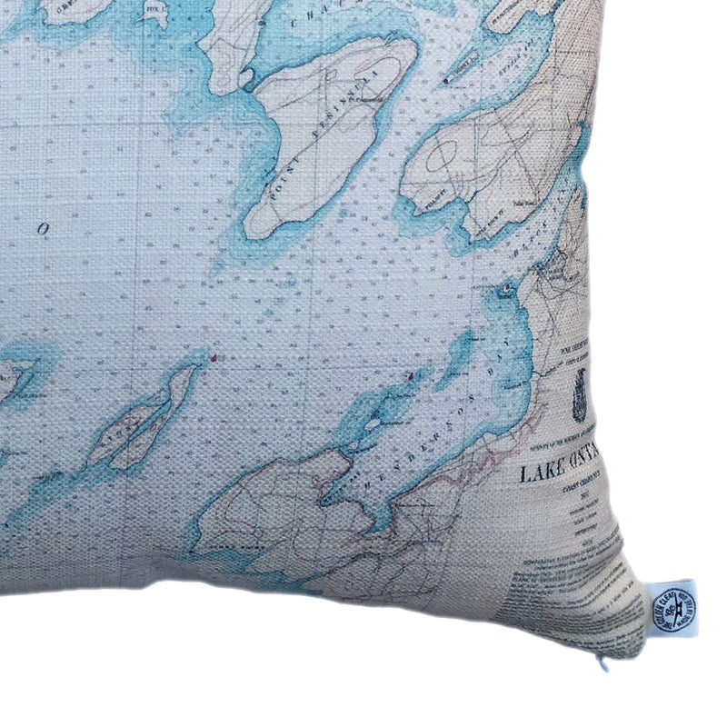 Indoor/Outdoor Chart Pillow (Lake Ontario to Clayton)