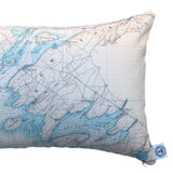 Thousand Islands Indoor/Outdoor Vintage Nautical Chart Pillow #1B (Lumbar) (from Lake Ontario to Clayton)