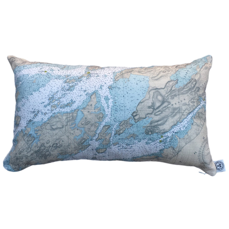 Indoor/Outdoor Lumbar Chart Pillow (Gananoque to Lake of the Isles)