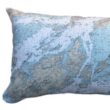 Thousand Islands Indoor/Outdoor Vintage Nautical Chart Pillow #3 (Lumbar) (from Gananoque to Lake of the Isles)