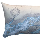 Indoor/Outdoor Lumbar Chart Pillow (Lake Fleet Group to Alexandria Bay)