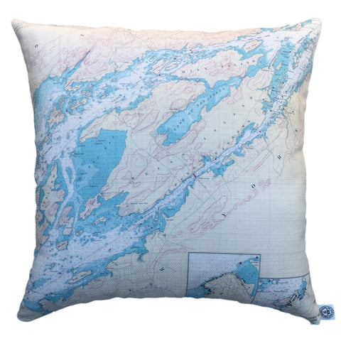 Indoor/Outdoor Chart Pillow (Clayton to Alexandria Bay)