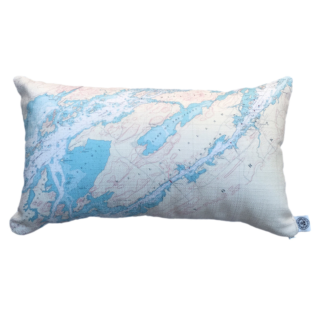 Thousand Islands Indoor/Outdoor Vintage Nautical Chart Pillow #5 (Lumbar) (Clayton to A Bay)