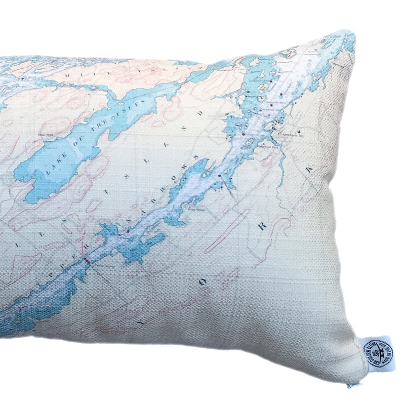 Indoor/Outdoor Lumbar Chart Pillow (Clayton to A Bay)