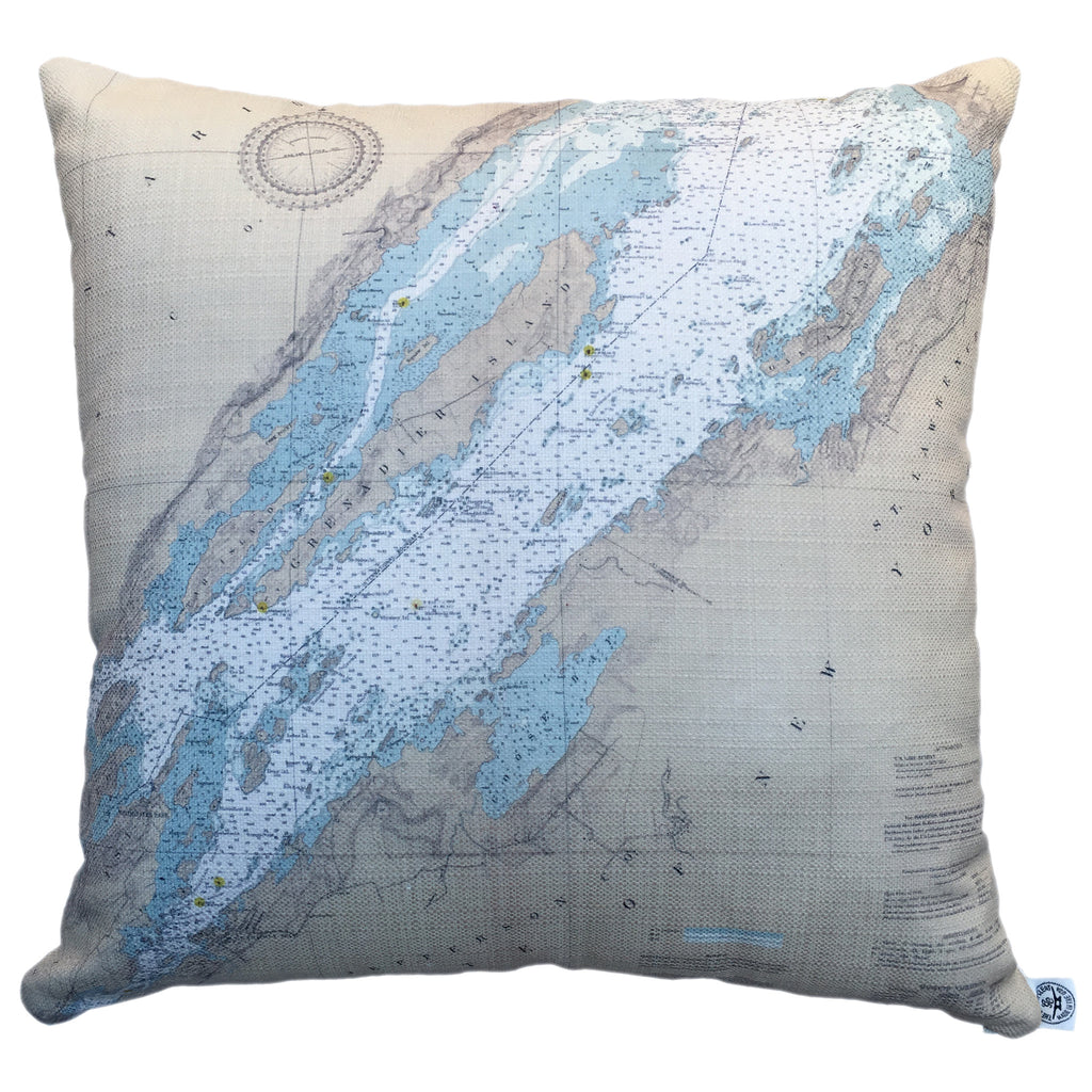 Thousand Islands Indoor/Outdoor Vintage Nautical Chart Pillow #6 (Square) (from Alexandria Bay to Chippewa Bay)