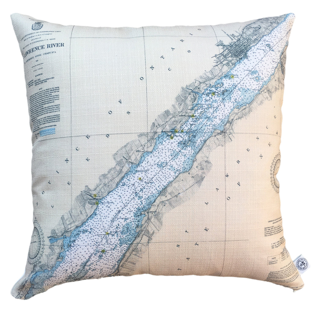 Thousand Islands Indoor/Outdoor Vintage Nautical Chart Pillow #7 (Square) (Morristown, Brockville)