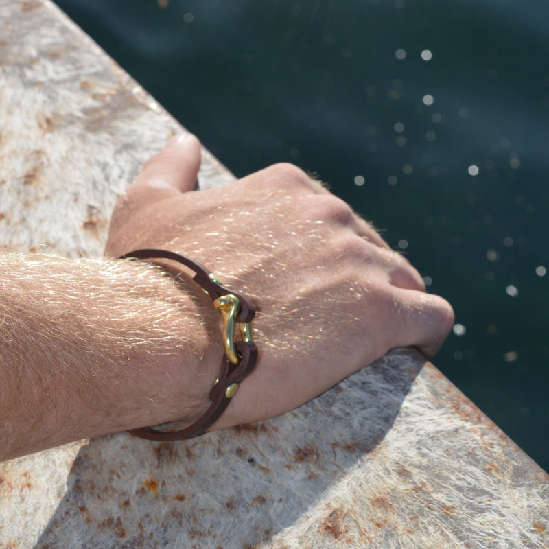 Classic Shackle Bracelet (Brass on Havana Leather)