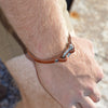 Classic Shackle Bracelet (Matte Nickel on Chestnut Leather)