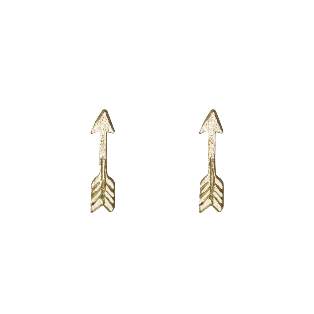 Tiny Arrow Earrings in 14K Yellow Gold