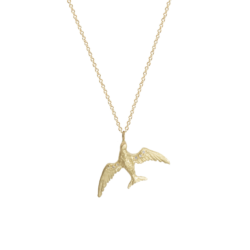 Large Bird Necklace in 14K Yellow Gold