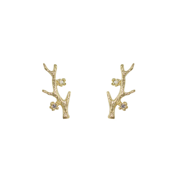 Branch Earrings with Diamonds in 14K Yellow Gold