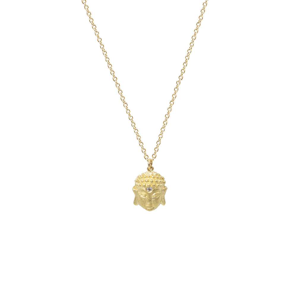 Small Buddha Necklace in 14K Yellow Gold