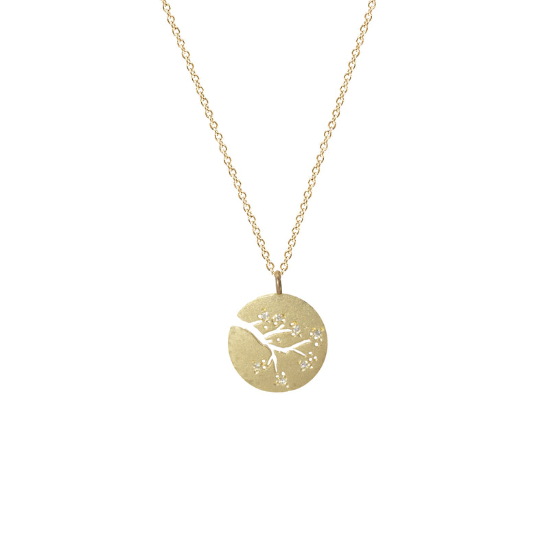 Cherry Blossom Necklace with Diamonds in 14K Yellow Gold