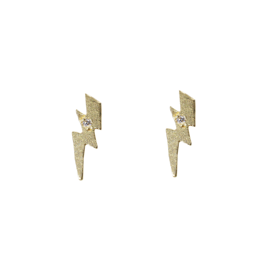 Lightning Bolt Earrings In 14k Yellow Gold The Golden Cleat