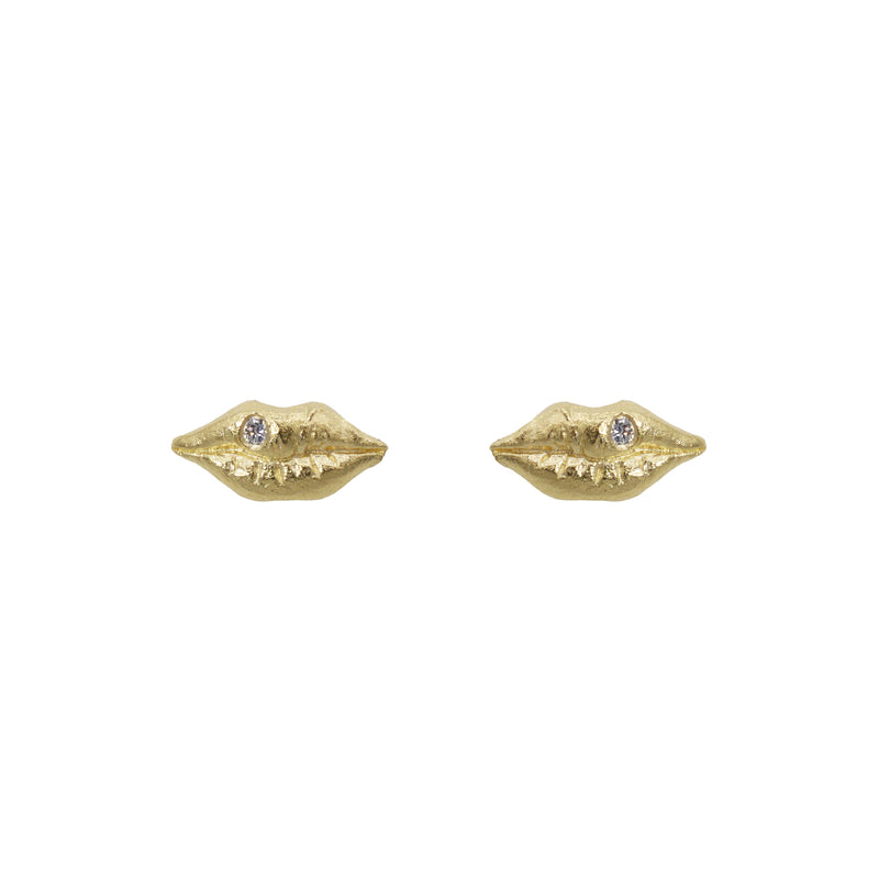 Lip Earrings with Diamonds in 14K Yellow Gold