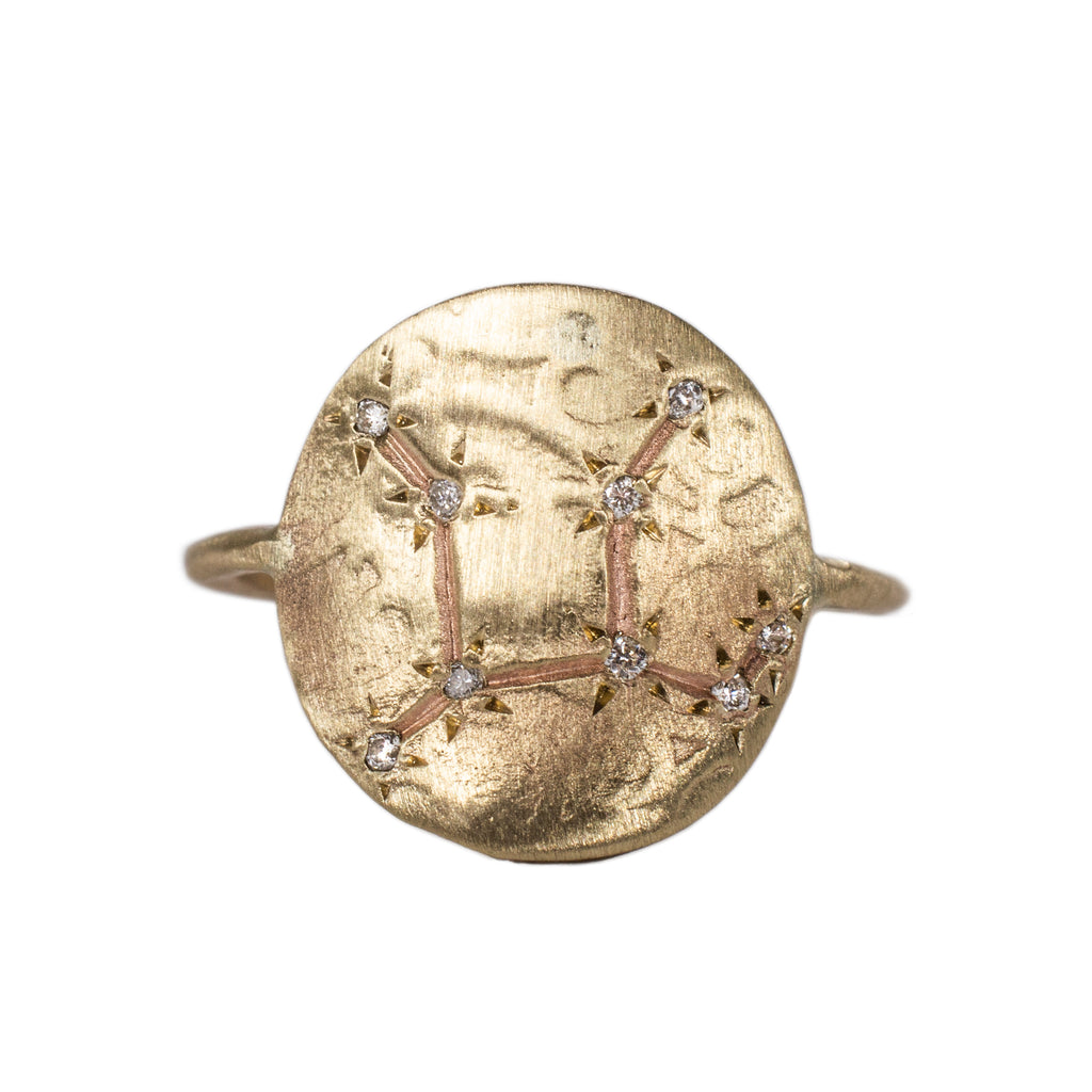 Virgo Constellation Ring with Diamonds in 10K Gold