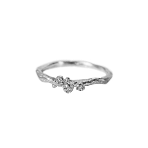 Encrusted Tiny Branch Ring with Diamonds in Sterling Silver
