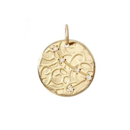 Aries Constellation with Diamonds in 10K Gold
