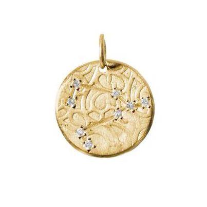 Capricorn Constellation with Diamonds in 10K Gold