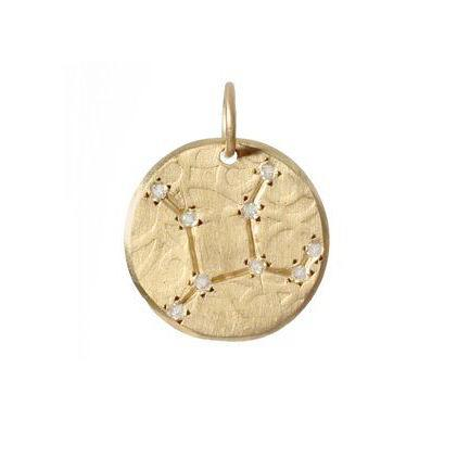 Virgo Constellation with Diamonds in 10K Gold
