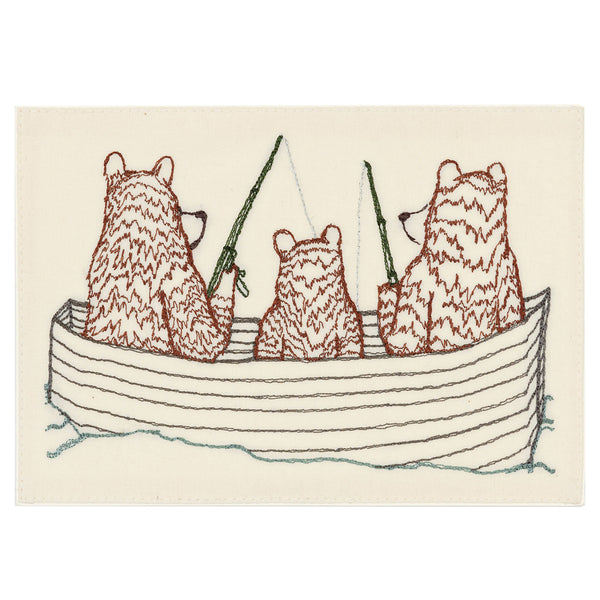 Embroidered Card (Bear Family Fishing)