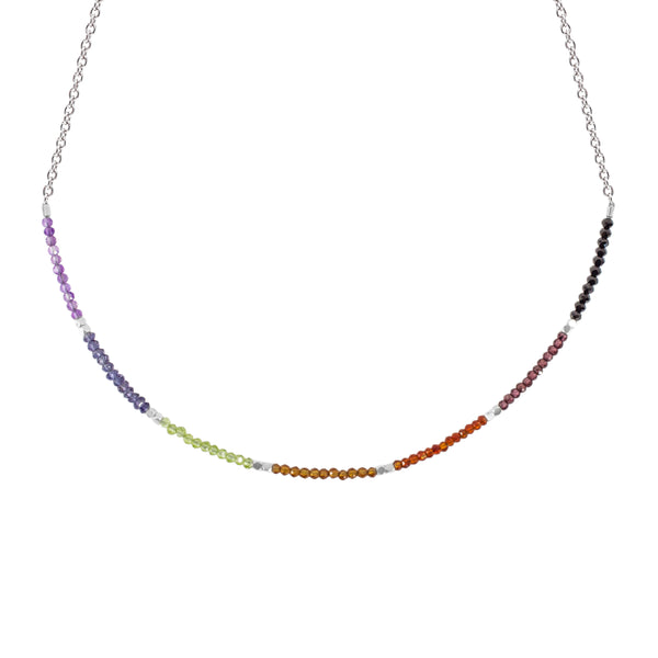 Chakra Gemstone Beaded Color Block Choker Necklace (2.5MM)