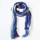 Silk/Cashmere Scarf (Denim/Coconut)