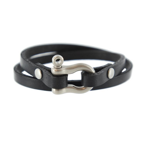 Double Wrap Shackle Bracelet (Matte Nickel on Black Leather)