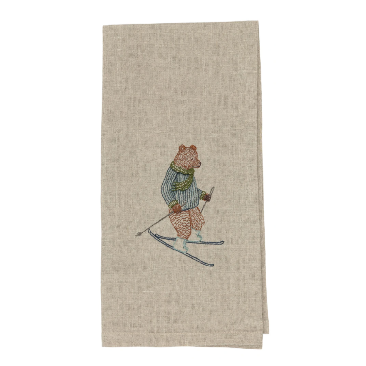 Downhill Bear Tea Towel