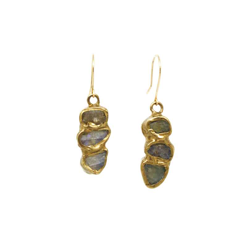 Frozen Fire Triple Earrings (Labradorite)