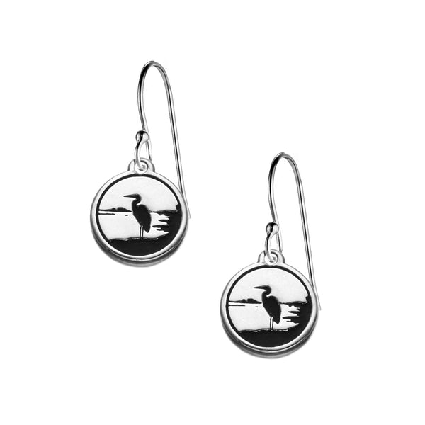 Heron Earrings in Sterling Silver